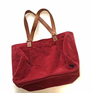 Ralph Lauren Red Corduroy Tote Bag